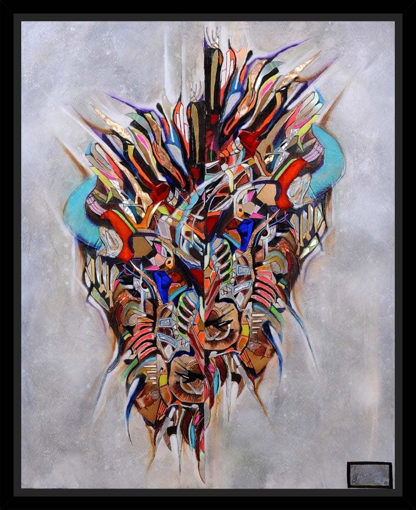 Peinture Bison Bison encadrée par Alexandre Kubasik