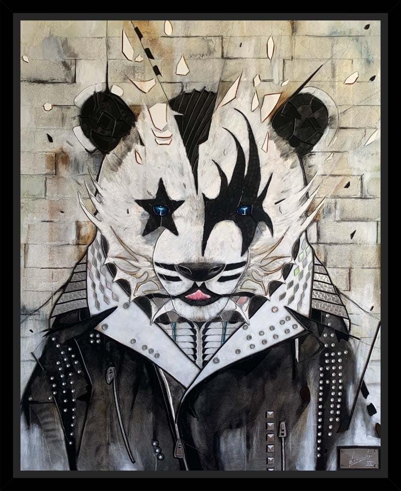 Peinture Kissing Panda encadrée par Alexandre Kubasik